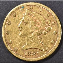 1881-S $5 GOLD LIBERTY XF