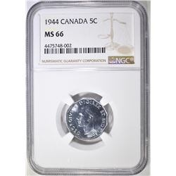 1944 5 CENTS CANADA  NGC MS-66