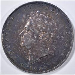 1826 SILVER HALF CROWN ENGLAND  AU