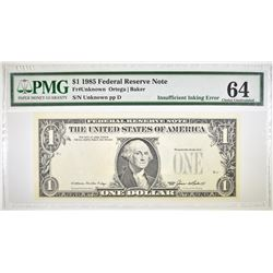 1985 $1 FEDERAL RESERVE NOTE  PMG 64