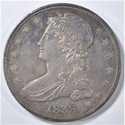 1838 BUST HALF DOLLAR  BU TONED