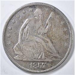 1857 SEATED LIBERTY HALF DOLLAR  XF  MARKS REV.
