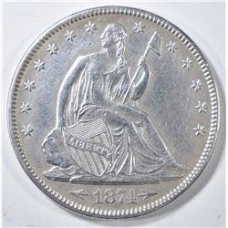 1874 ARROWS SEATED LIBERTY HALF DOLLAR  CH AU