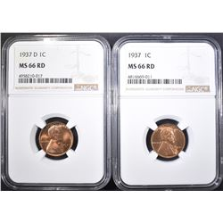 1937 & 37-D LINCOLN CENTS NGC MS-66 RED