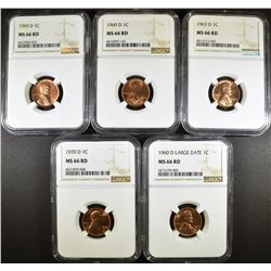 5 D MINT LINCOLN CENTS NGC MS-66 RD