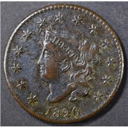 1826 LARGE CENT XF
