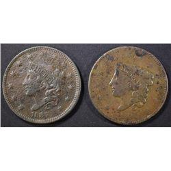 1836 VG DAMAGE & 1837 VF POROUS LARGE CENTS