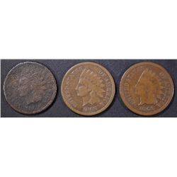 1864 BR G, 65 FINE, 69 G CORRODED INDIAN CENTS