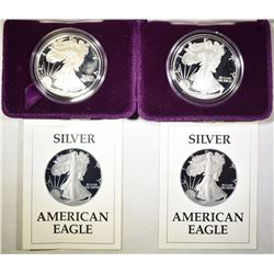 2-1987-S PROOF AMERICAN SILVER EAGLES BOXES/COA