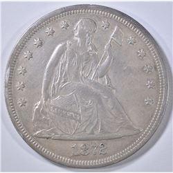 1872 SEATED LIBERTY DOLLAR AU