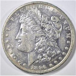 1896-O MORGAN DOLLAR, AU/BU REV RIM HIT