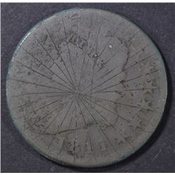 1811 LARGE CENT, CARVED LINES DESIGN ON OBV