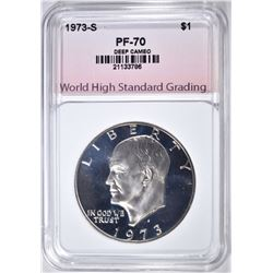1973-S CLAD IKE DOLLAR, WHSG PERFECT GEM Pf DCAM