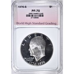 1976-S CLAD IKE DOLLAR, WHSG PERFECT GEM Pf DCAM