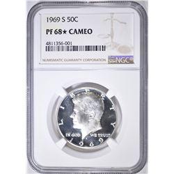 1969-S KENNEDY HALF, NGC PF-68* CAMEO