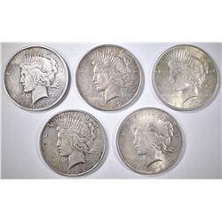 3-1922 & 2-23 CIRC PEACE DOLLARS