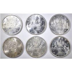 1961 THRU 66 BU CANADIAN SILVER DOLLARS