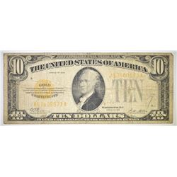1928 $10.00 GOLD CERTIFICATE, VG