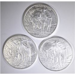3-PROSPECTOR ONE OUNCE .999 SILVER ROUNDS