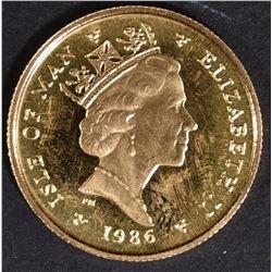 1986 1/10 oz GOLD ISLE OF MAN ANGEL