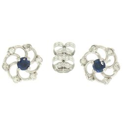 14K White Gold 1.0 ctw Diamond & Sapphire Open Flower Design Stud Earrings