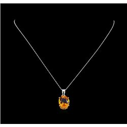 Crayola 8.80 ctw Citrine Pendant With Chain - 14K White Gold