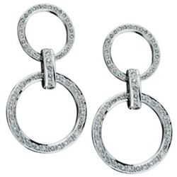 14k White Gold 1.29CTW Diamond Earrings, (H-I)
