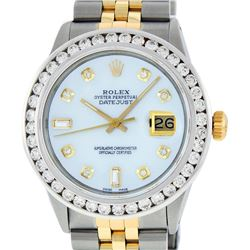 Rolex Mens 2 Tone MOP 3 ctw Channel Set Diamond Datejust Wristwatch