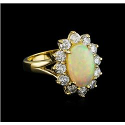 2.56 ctw Opal and Diamond Ring - 14KT Yellow Gold