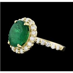 3.42 ctw Emerald and Diamond Ring - 14KT Yellow Gold
