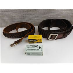 CANUCK AND NAVY ARMS 32 LONG RIMFIRE AMMO, LEATHER AMMO BELTS