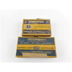 DOMINION 303 SAVAGE FACTORY AMMO, BRASS CASES