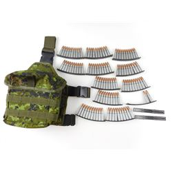7.62 X 39MM AMMO, ON STRIPPER CLIPS, IN CAMO CANVAS AMMO BAG