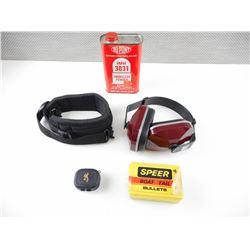 IMR 3031 SMOKELESS POWDER, 270 CAL BULLETS, EAR MUFFS, SLING