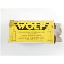 WOLF FACTORY RELOADED 44 MAG AMMO
