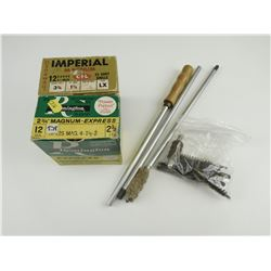 12 GAUGE ASSORTED SHOTSHELLS, CLEANING ROD AND BRUSHES