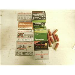 12 GAUGE ASSORTED SHOTGUN SHELLS, IN PLANO PLASTIC AMMO BOX