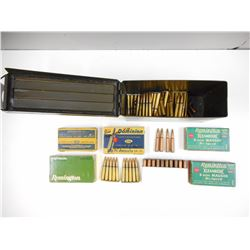 8MM MAUSER ASSORTED AMMO, SOME ON STRIPPER CLIPS, IN METAL AMMO TIN