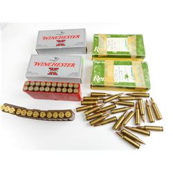 22-250 REM ASSORTED AMMO, RELOADED AMMO