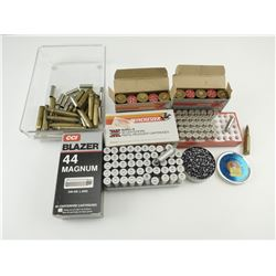 ASSORTED AMMO, INCLUDING 44 MAG, 38 SPECIAL, 12 GA BUCK SHOT, .177 PELLETS