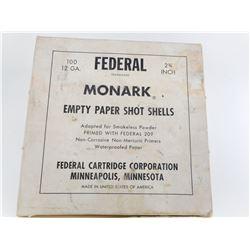 "FEDERAL MONARK 12 GA EMPTY PRIMED PAPER SHOTHSELLS 2 3/4"""