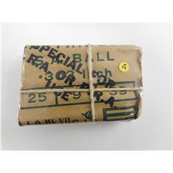.303 INCH BALL AMMO, PACKAGE STAMPED SPECIAL FOR D.R.A. OR P.R.A. USE