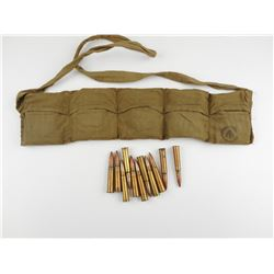 .303 BRITISH MILITARY AMMO, SOME ON STRIPPER CLIPS, IN BANDOLEER