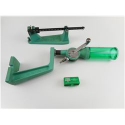 RCBS POWDER MEASURE WITH STAND, RCBS SCALE, RCBS BURRING TOOL