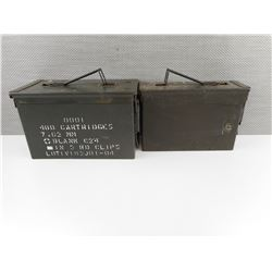 TWO METAL AMMO TINS