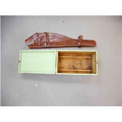 CUSTOM BROWN LEATHER RIFLE SCABBARD AND WOODEN BOX