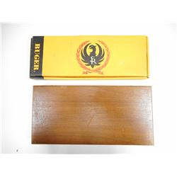 HAND GUN WOODEN BOX AND EMPTY RUGER BOX