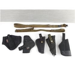 ASSORTED NYLON HOLSTERS AND SLINGS