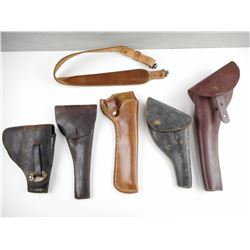 ASSORTED LEATHER HOLSTERS AND SLING