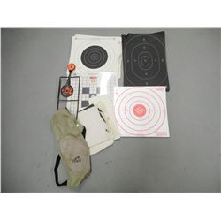 ASSORTED SHOOTING TARGETS AND SHOULDER REST